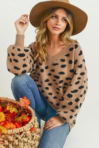 Spotted V-Neck Bubble Sleeve Sweater - Free Souls Boutique