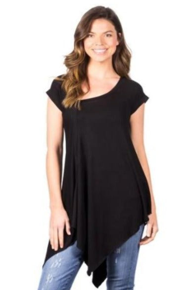Asym Cap Sleeve Tunic Top - Free Souls Boutique