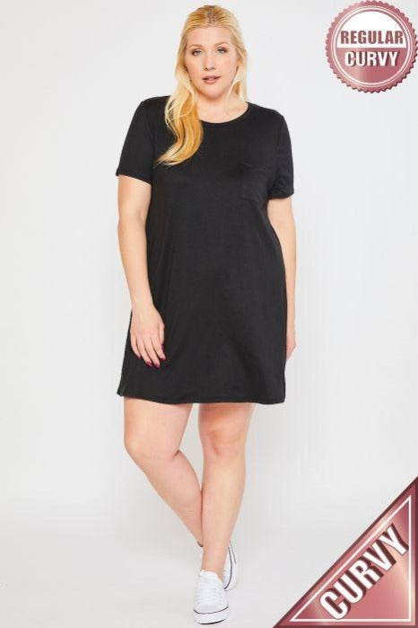 Plus Solid Front Pocket Mini Dress