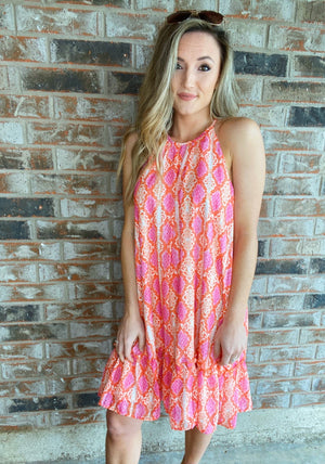 Spaghetti Straps Snake Print Dress