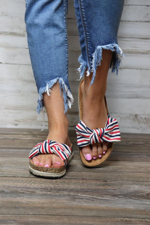 Haidy Striped Bow Slide Sandals - Free Souls Boutique