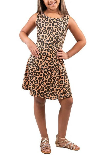 Youth SS Criss Cross Back Animal Print Dress
