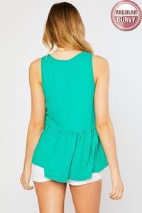 Solid Knit Babydoll Tank Top