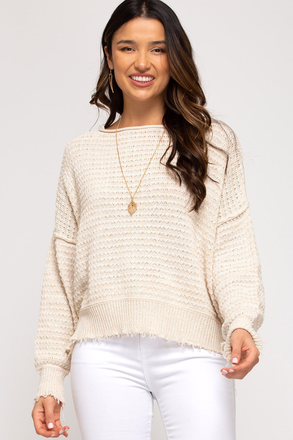 Fray Edge Texture Knit Sweater