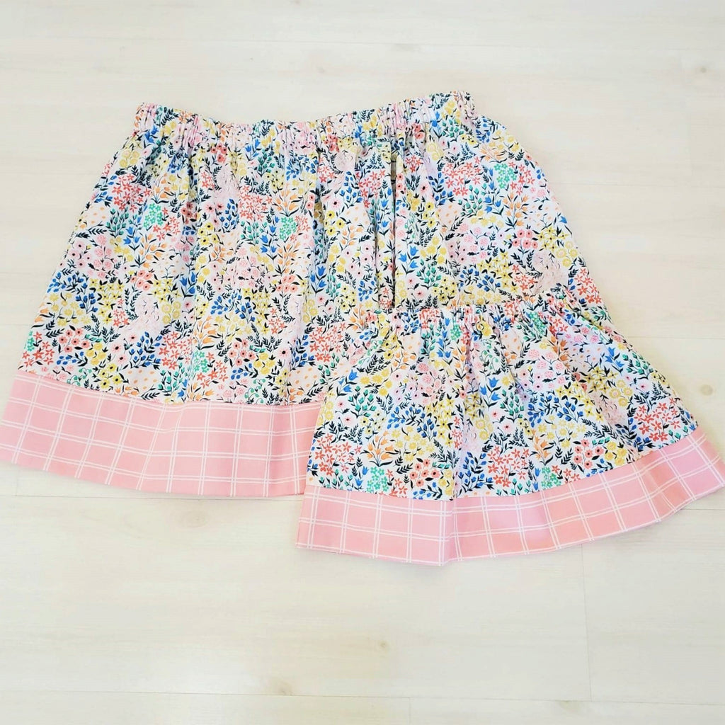 Organic Cotton Floral and Plaid Skirt for Girl's and Women