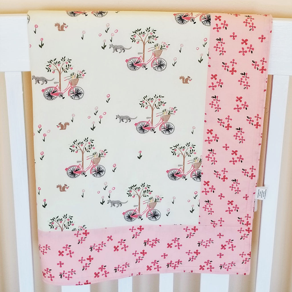Organic Cotton Baby Blanket with Bicyles, Flowers, & Cats