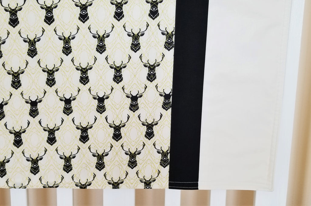 Organic Cotton Farmhouse Baby Blanket with Elk or Blossoms