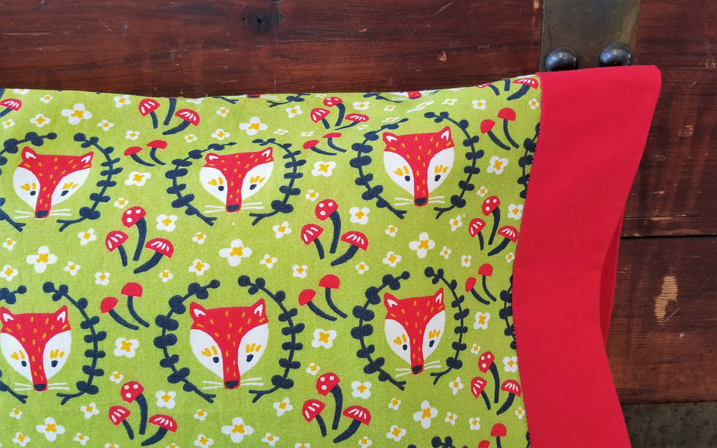 Organic Cotton Pillowcases with Foxes on Green Or Cream