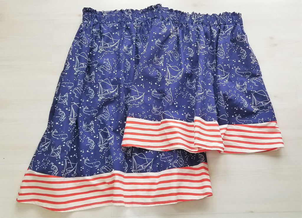 Organic Cotton Nautical Print Women's Skirt