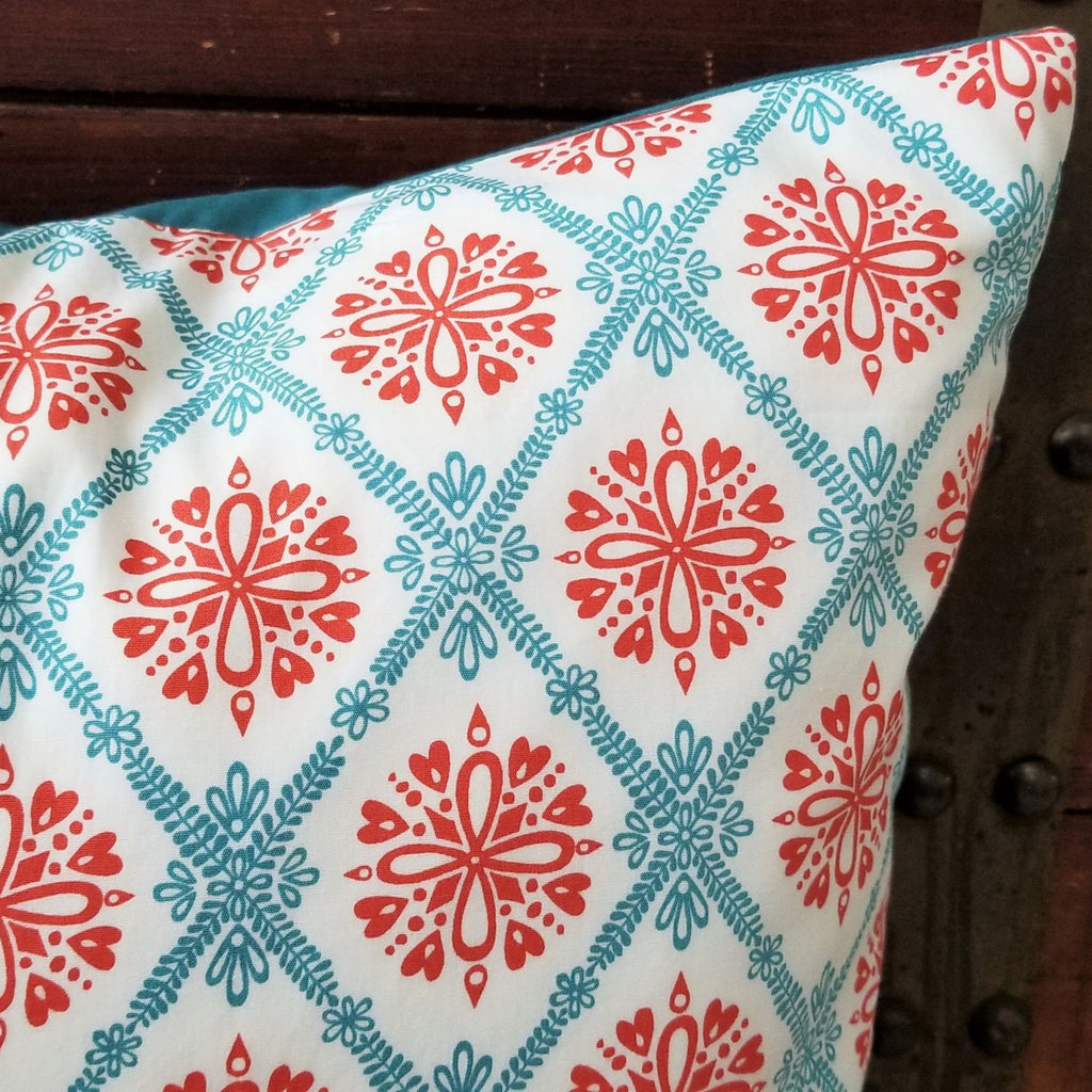 Organic Throw Pillow Cover with Hearts and Flowers