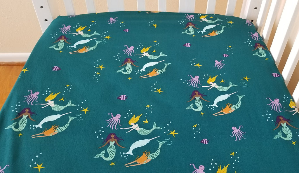 Organic Crib Sheet - Organic Toddler Sheet - Mermaids & Sea Creatures