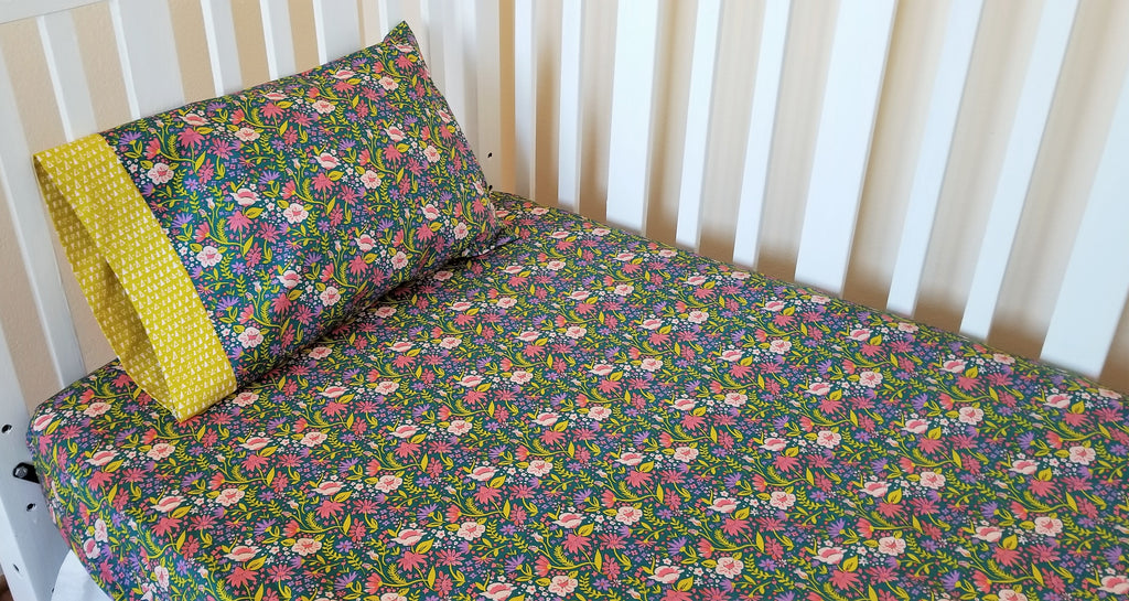 Organic Crib Sheet - Organic Toddler Sheet - Jeweled Tone Floral