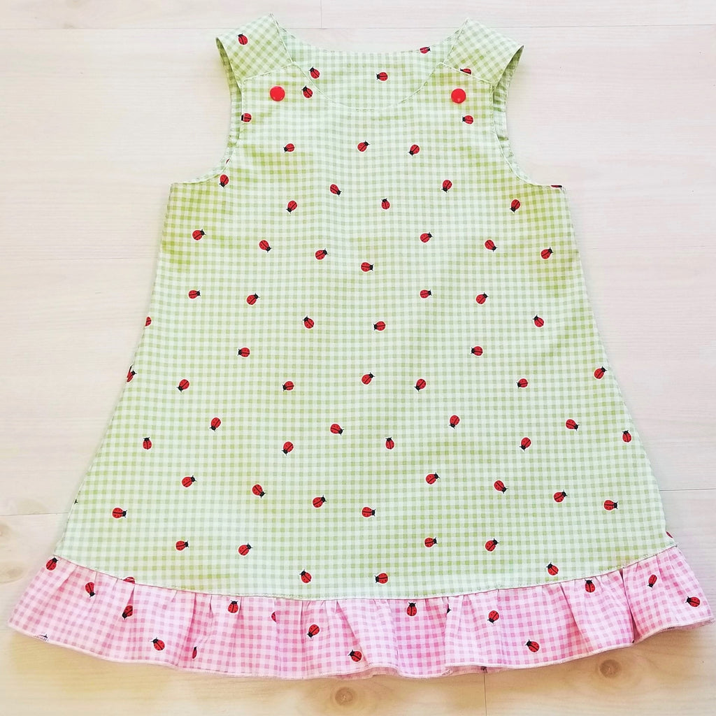 Organic Girl's Dress - Toddler Dress - Ladybugs - Gingham