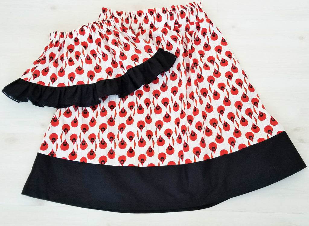 Organic Cotton Girl's Skirt - Toddler's Skirt - Cardinals - Multiple Fabrics Available