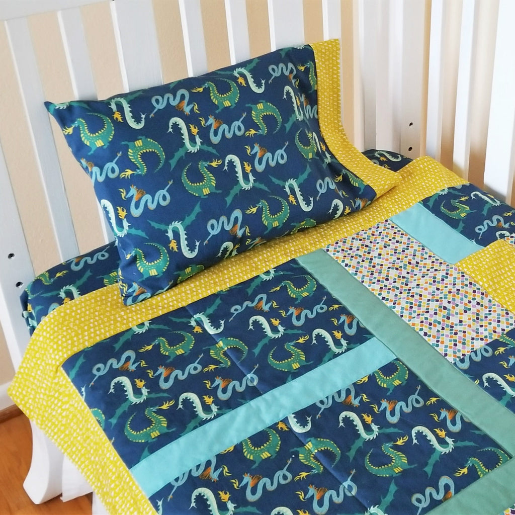 Organic Baby Bedding Set -Dragons - Organic Toddler Bedding Set