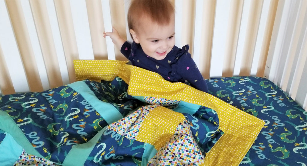 Organic Baby Quilt - Organic Toddler Quilt - Magical Creatures - Dragon Quilt