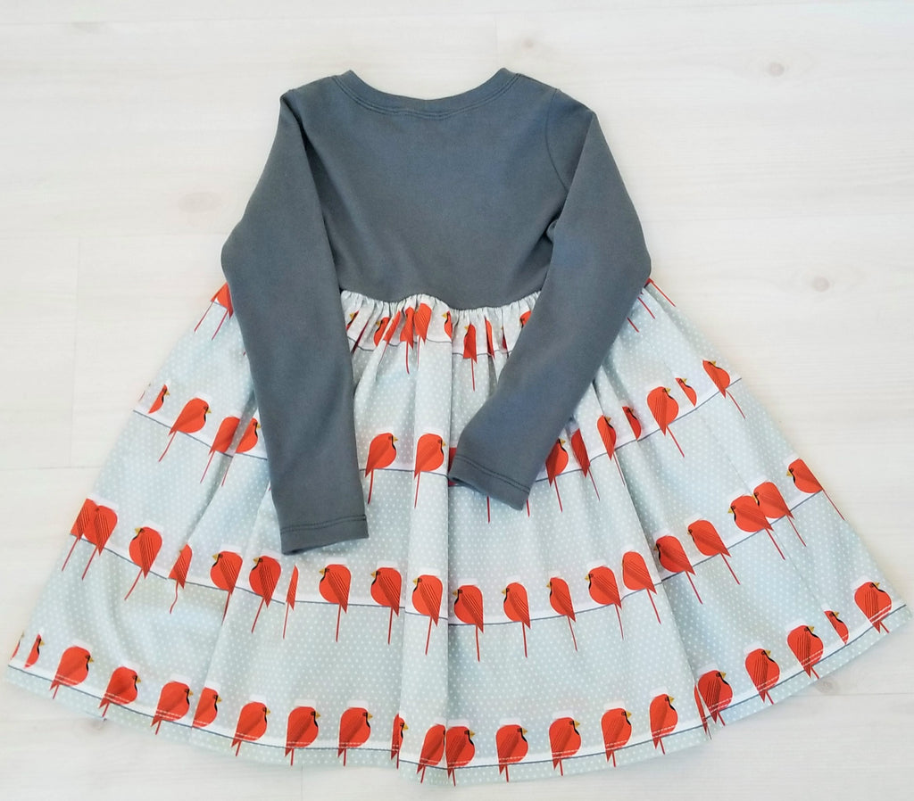 Organic Cotton Girl's Christmas Dress in Charley Harper Cardinal Print