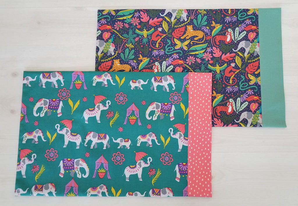 Organic Toddler And Travel Pillowcase with Elephants and Other Prints