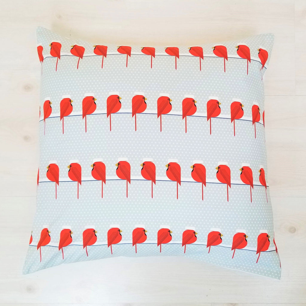 Throw PIllows in Christmas Cardinal Prints by Charley Harper