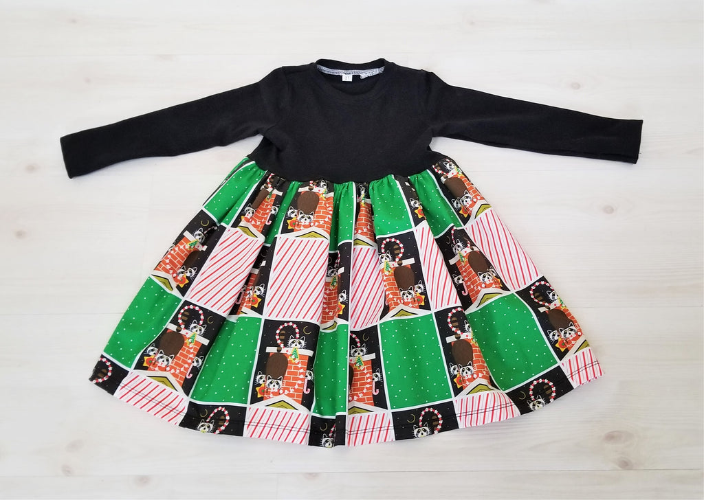 Organic Cotton Girl's Christmas Dress in Charley Harper Raccoon Print