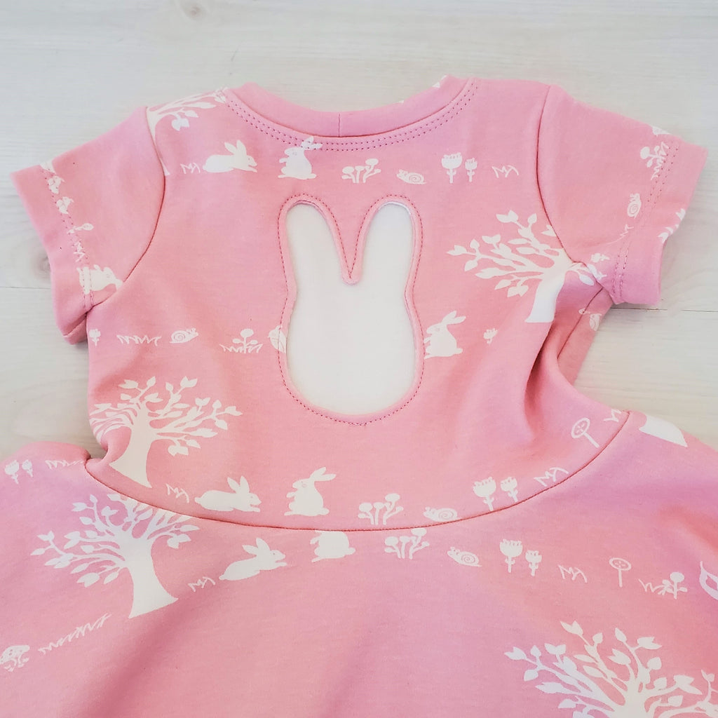 Organic Girl's & Toddler Dress with Bunny Rabbits