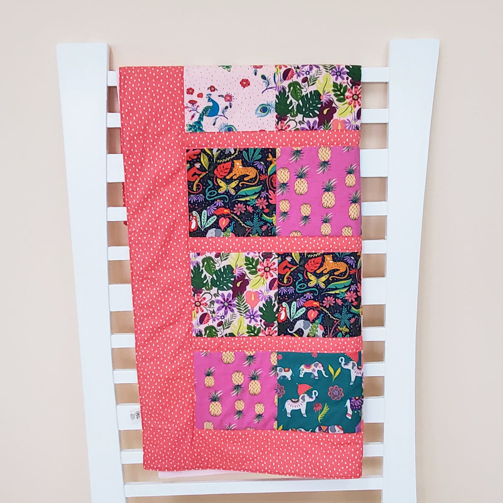 Organic Toddler Quilt - Organic Baby Quilt - Jungle Animals
