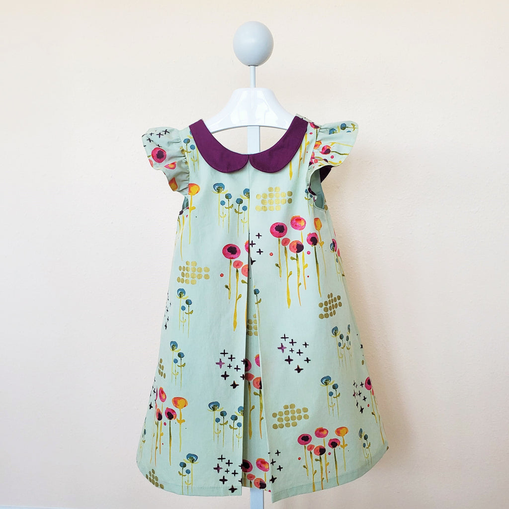 Organic Girl's Dress in Green or Pink Floral