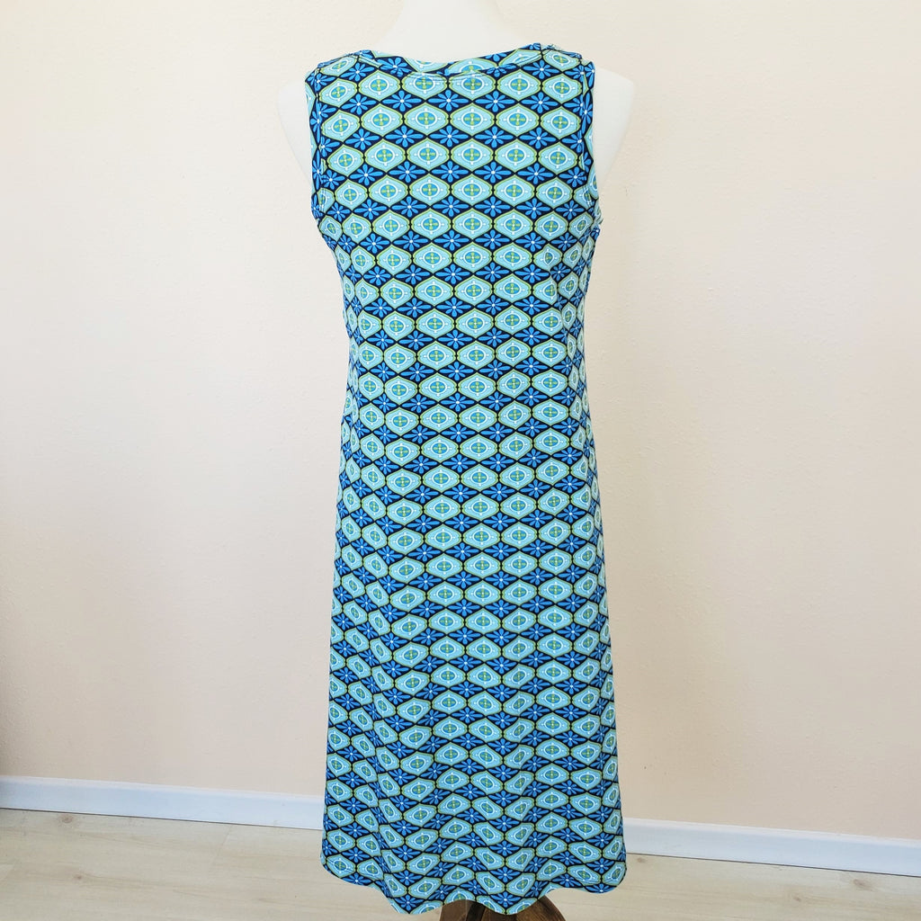 Blue and Green Floral Knit Sleeveless Women's Dress