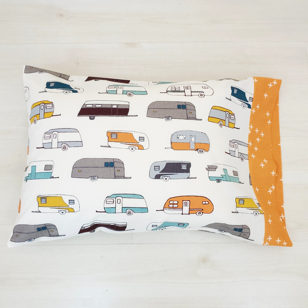Organic Toddler Pillowcase - Camp Trailers - Organic Travel Pillowcase