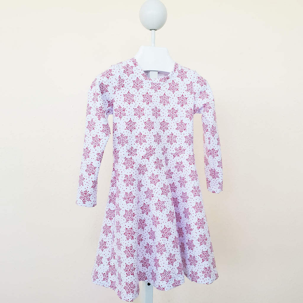 Snowflake Holiday Dress for Girls & Toddlers in Organic Cotton