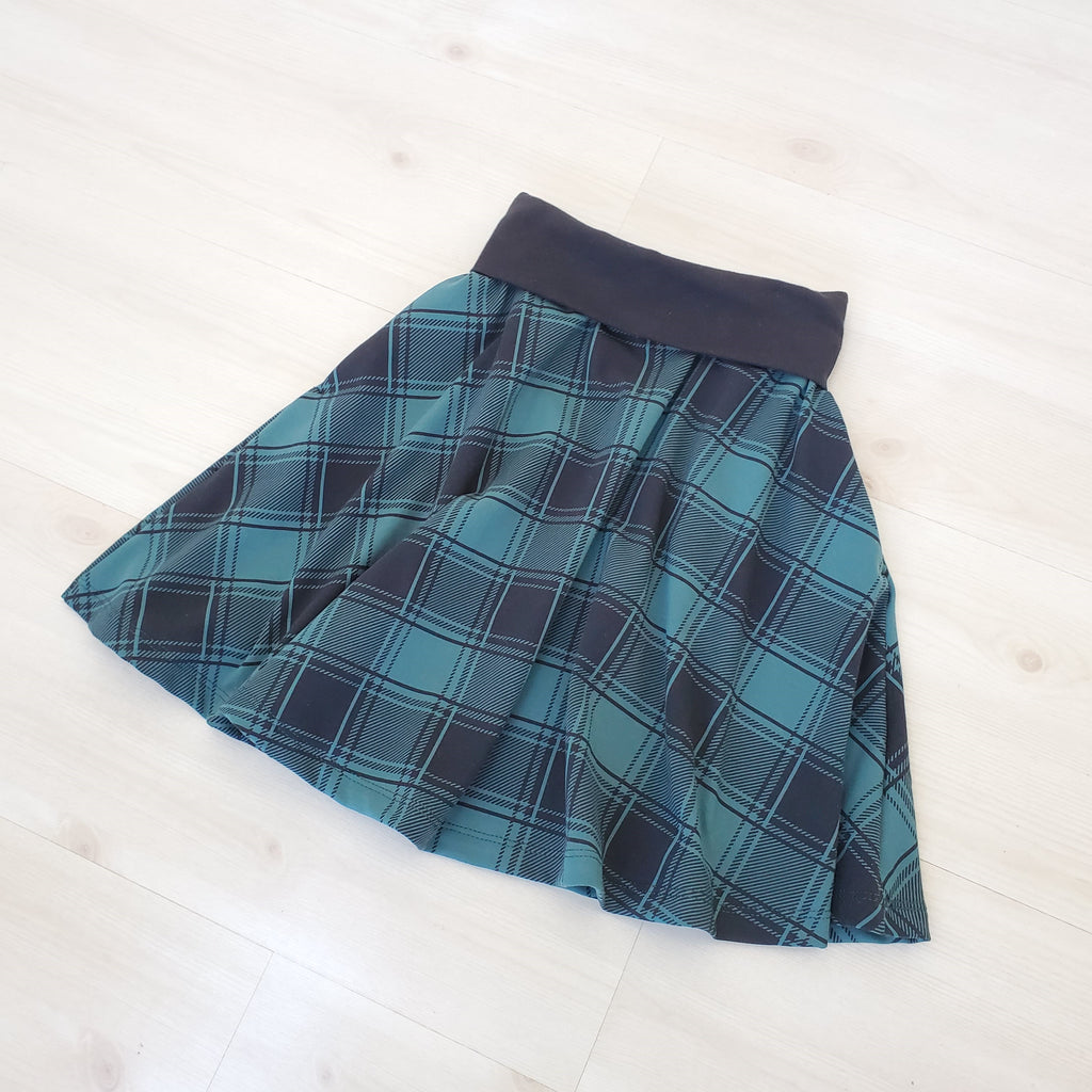 Girl's Green Plaid Circle Skirt in Organic Cotton
