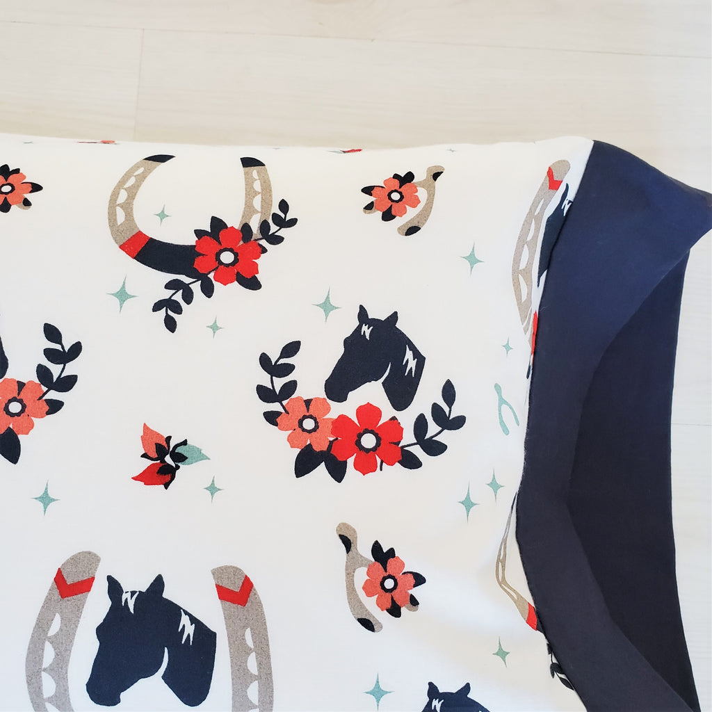 Organic Cotton Toddler Pillowcase with Horses
