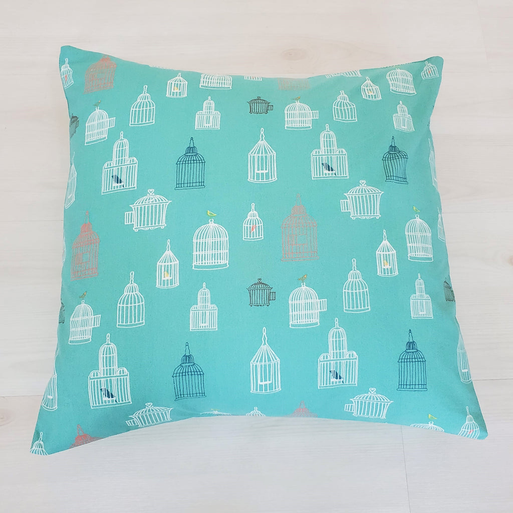Organic Cotton Throw Pillow in Birdcage Print