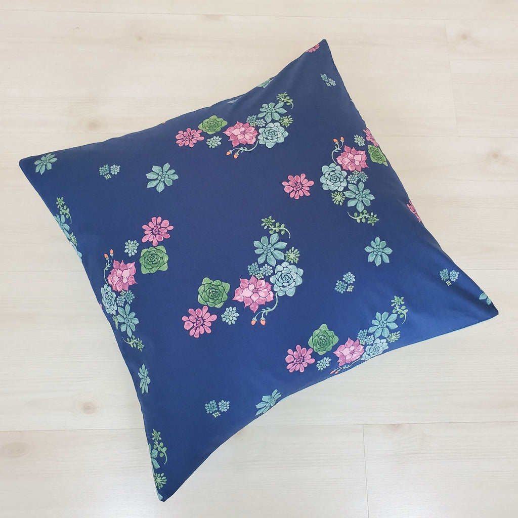 Organic Cotton Throw Pillow Cover in Succulent & Floral Prints
