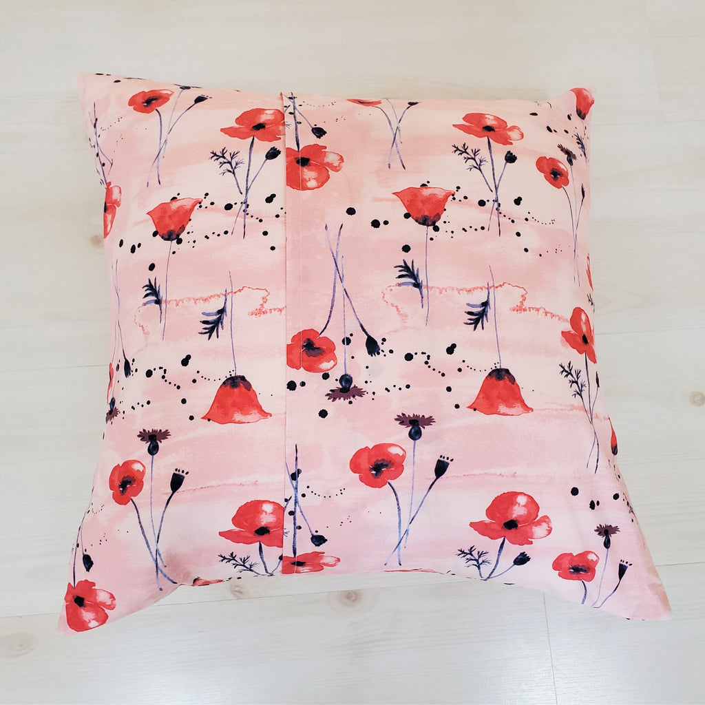 Organic Throw Pillow Cover with Poppies