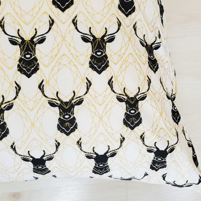 Organic Throw Pillow Covers in 2 Elk Prints with Metallic Gold Accents