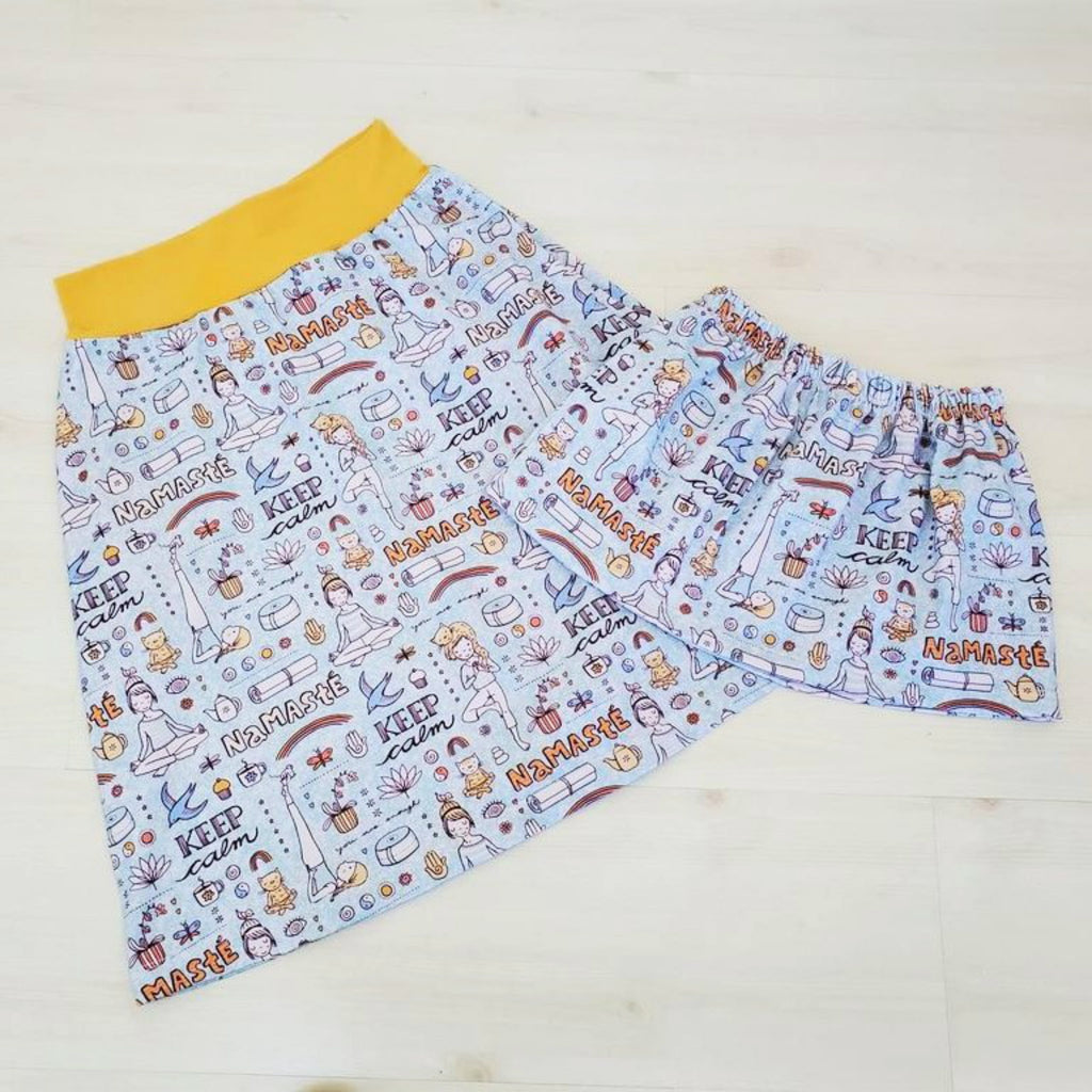 Yoga Print Organic Skirt for Girls and Women