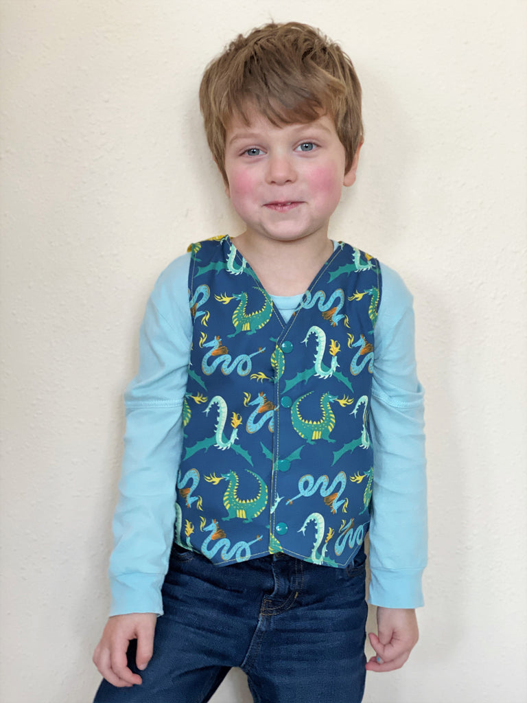 Organic Boy's Vest - Toddler Vest - Dragon Vest