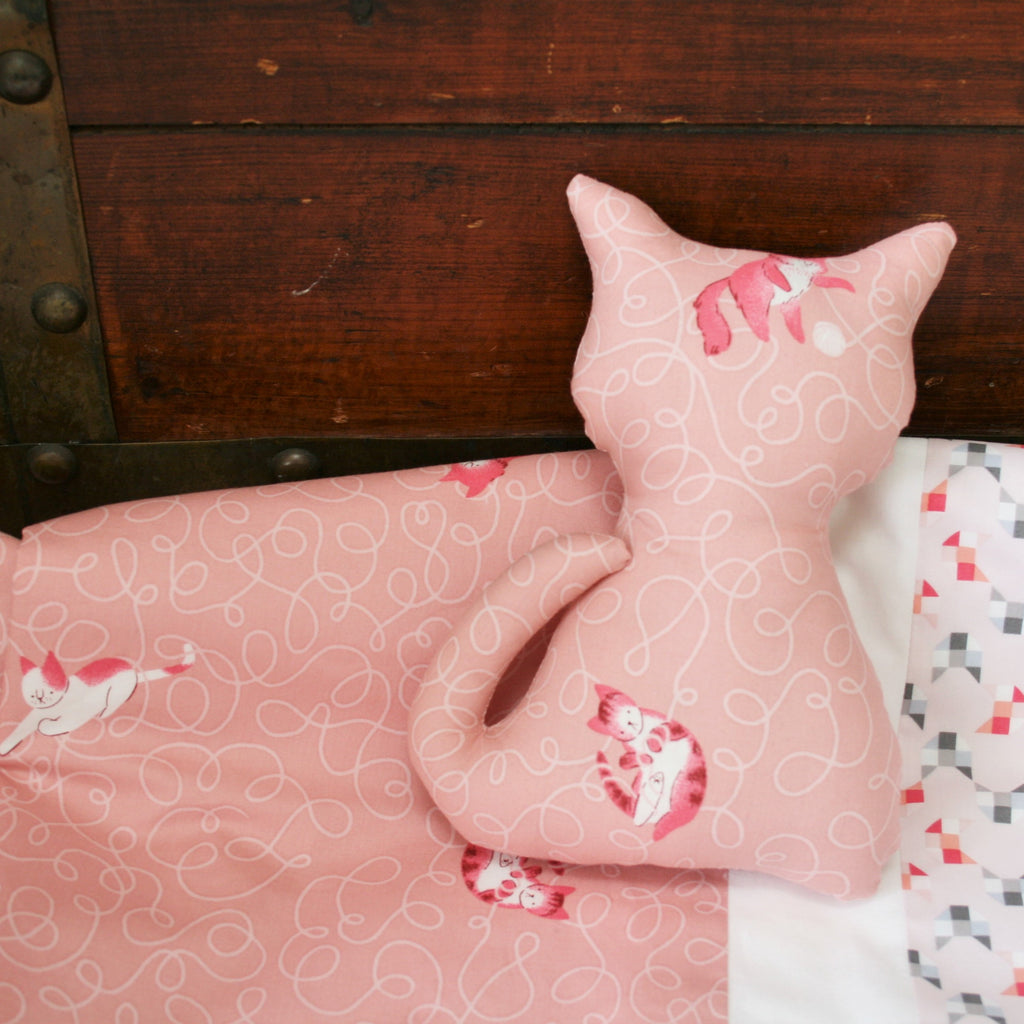 Pink Organic Cotton Baby & Toddler Blanket with Cats