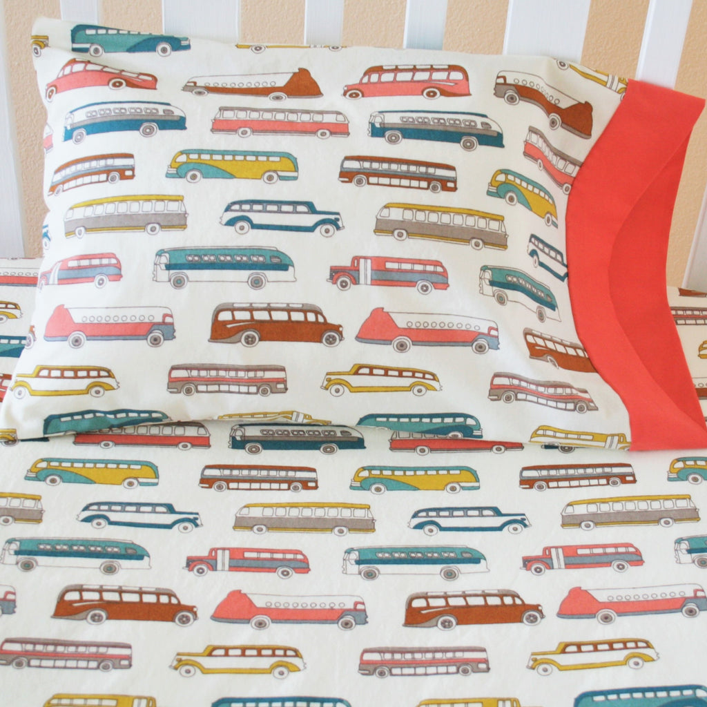 Organic Crib and Toddler Sheet in Retro Bus Print