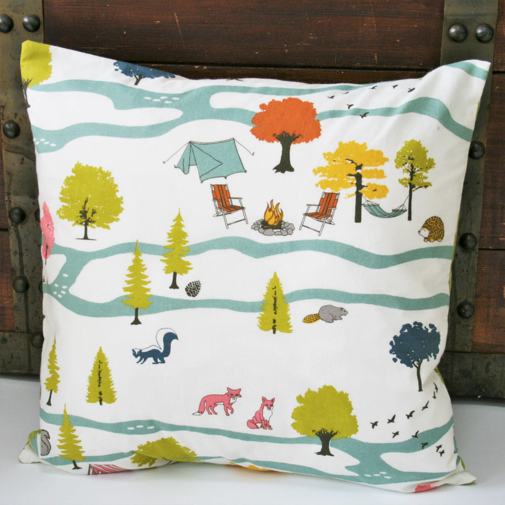 Organic Throw Pillow Cover in Camping Scene