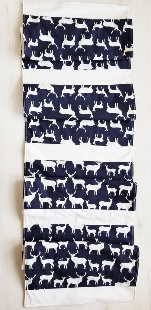 Rustic Organic Cotton Table Runner with Elk