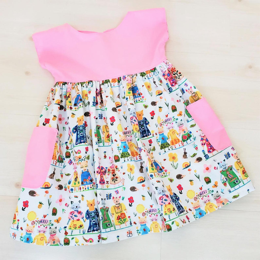 Organic Girl's and Toddler Dress  with BFFS and Cats