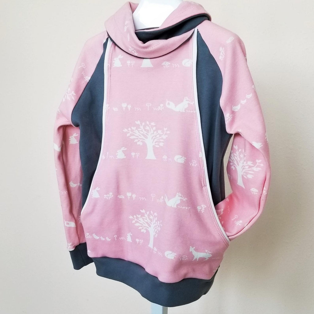 Organic Girl's & Toddler's Pullover in Pink Woodland Print