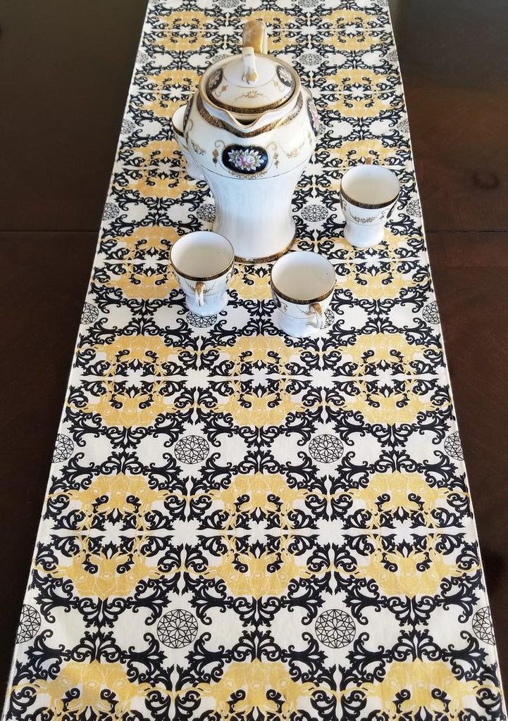 Organic Table Runner - Mod Nouveau - Black, White, and Metallic