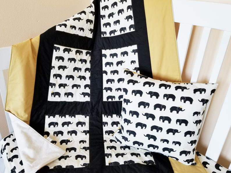 Elephant Baby & Toddler Quilt in Organic Cotton