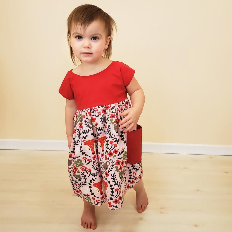 Organic Girl's Dress - Organic Toddler Dress - Foxes