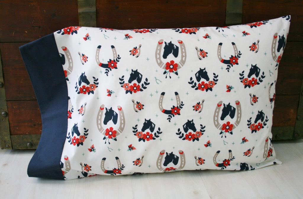 Organic Pillowcase, Girl, Organic Standard Pillowcase, Pillow Case, Horse Pillowcase, Tall Tales, Horses, Organic Bedding, Custom Pillowcase