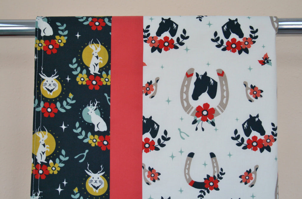 Organic Cotton Baby Blanket with Horses and Jackalopes