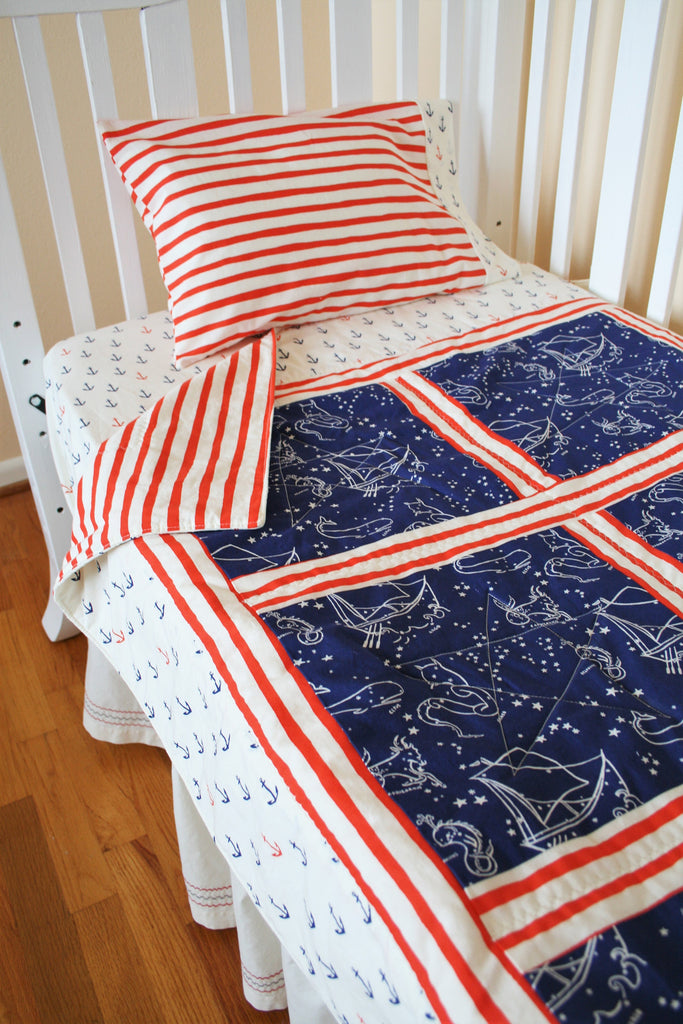 Organic Crib Sheet, Nautical, Organic Toddler Sheet, Neutral, Organic Fitted Crib Sheet, Boy, Anchor Crib Sheet, Striped Crib Sheet, Anchors